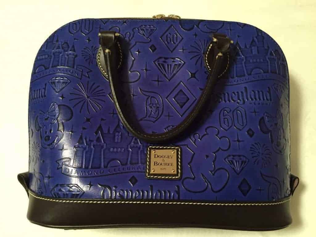 Disneyland 60th Anniversary Blue Leather Zip Satchel