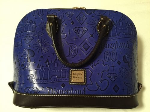 Disneyland 60th Anniversary Blue Leather Zip Satchel