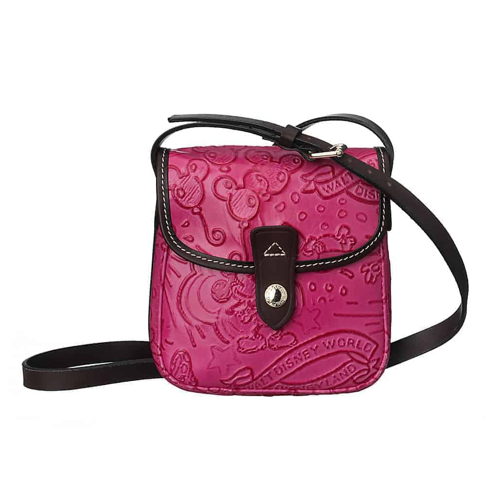 Colored Leather Sketch Small Crossbody Pink