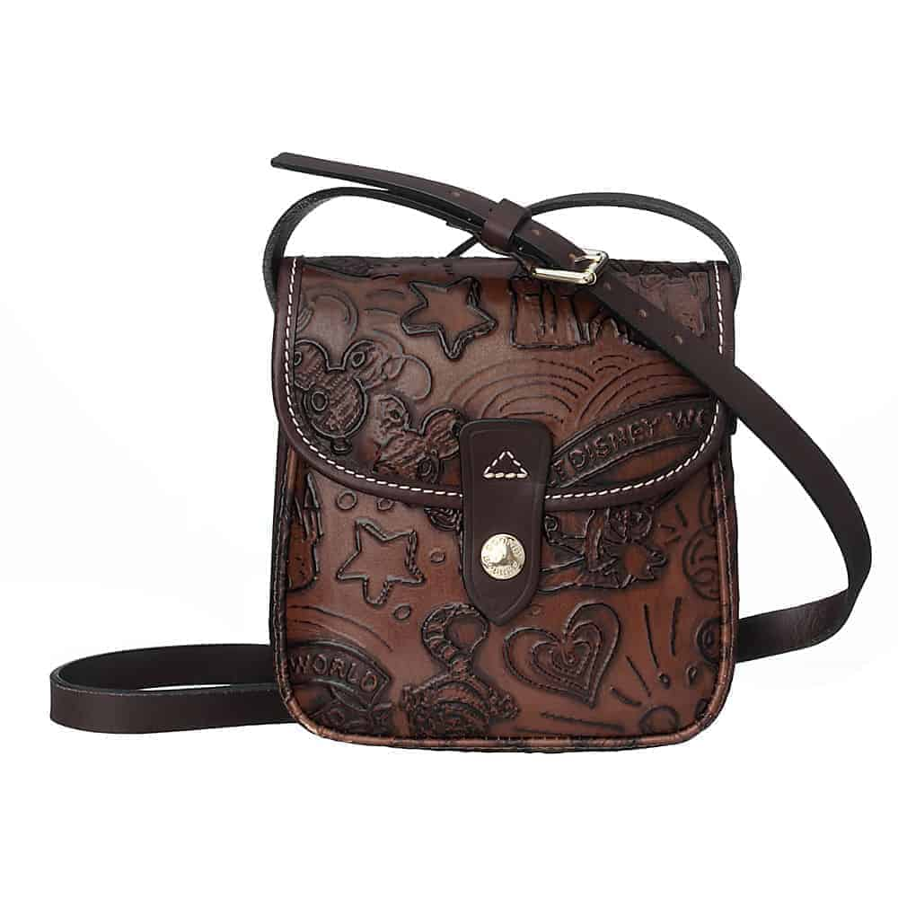 Colored Leather Sketch Small Crossbody Brown