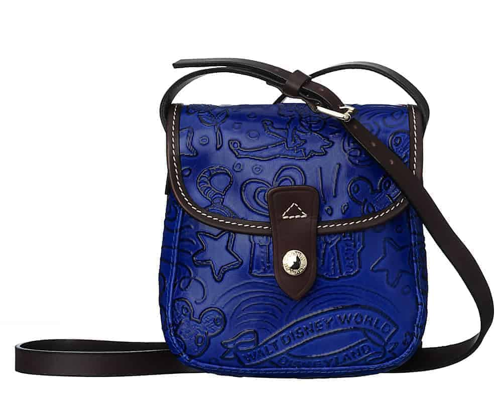 Colored Leather Sketch Small Crossbody Blue
