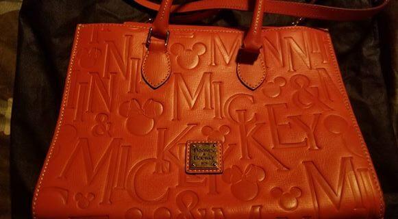 Mickey & Minnie Names Italian Leather Orange Tote OOAK