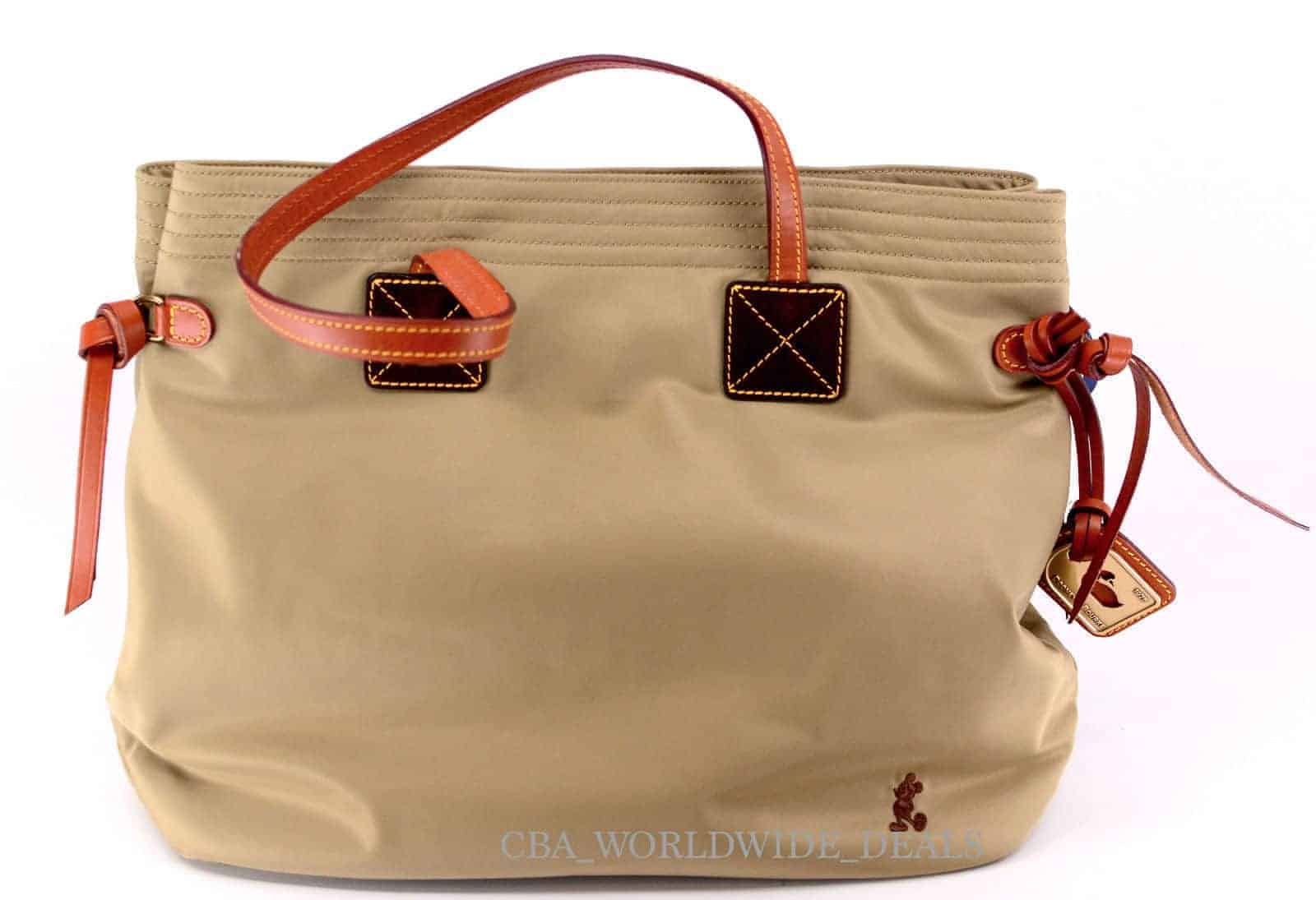 Tan Nylon Shopper w/ brown Mickey OOAK