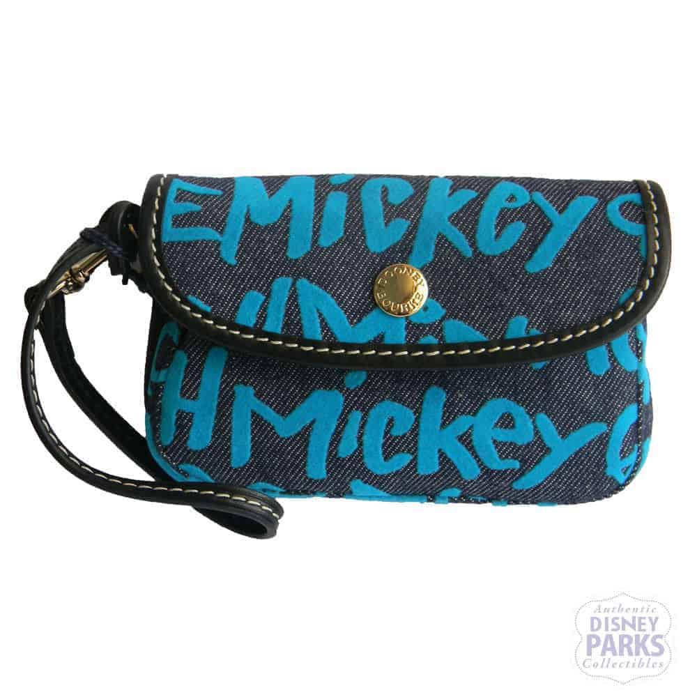 Peace Love Mickey Blue Denim Wristlet