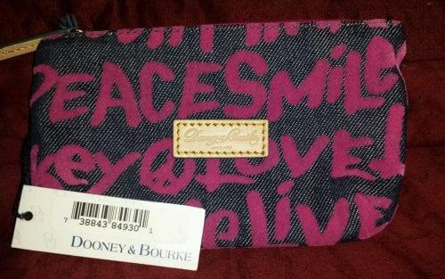 Peace Love Mickey Pink Denim Cosmetic Case