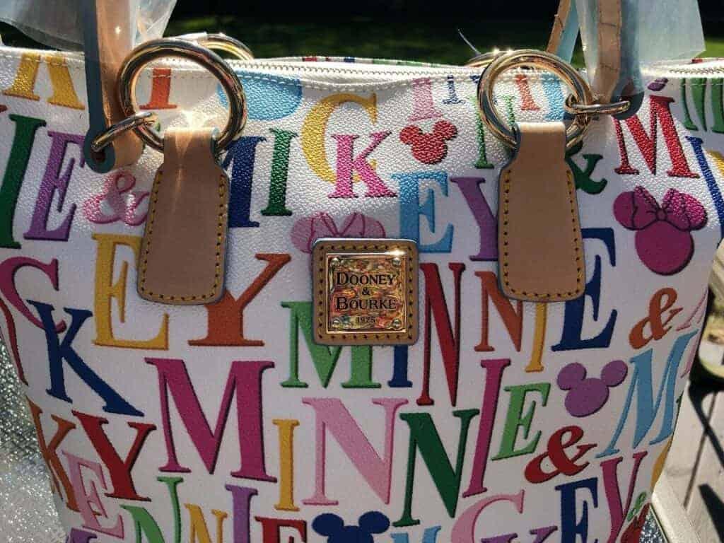 White Mickey Rainbow Names Tote (close up)