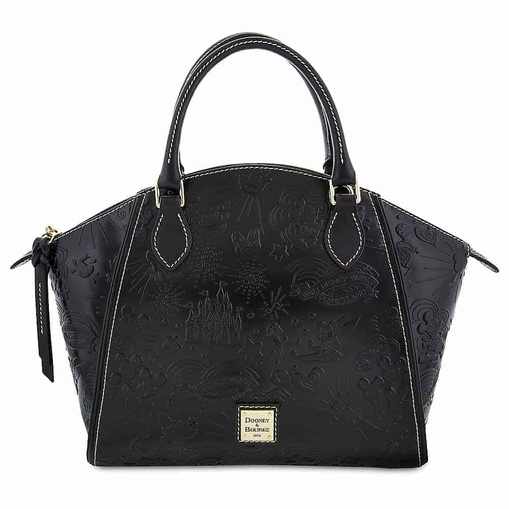 Black Embossed Sketch Satchel