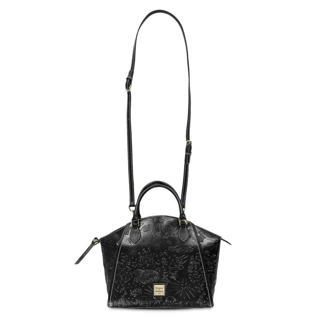 Black Embossed Sketch Satchel (strap)