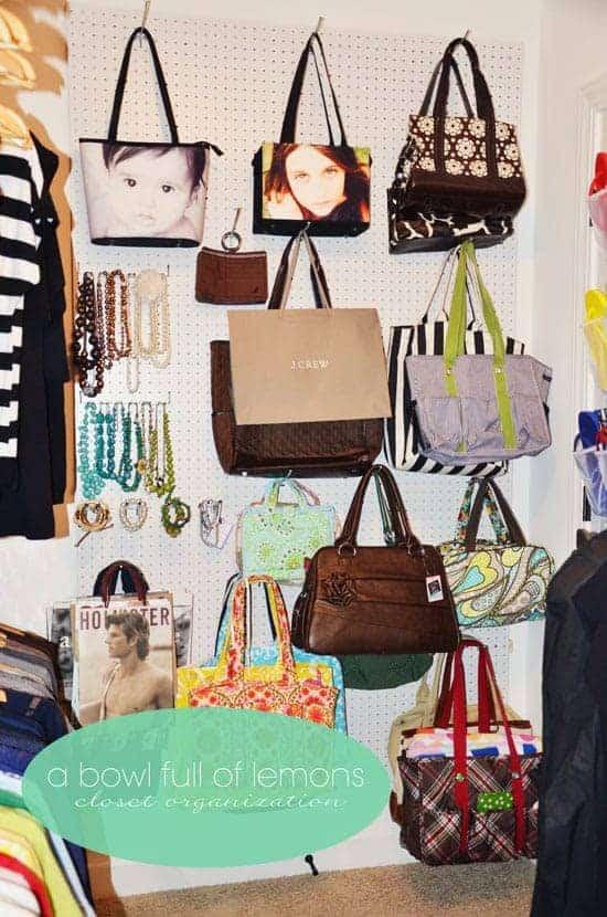 Pegboard Handbag Storage
