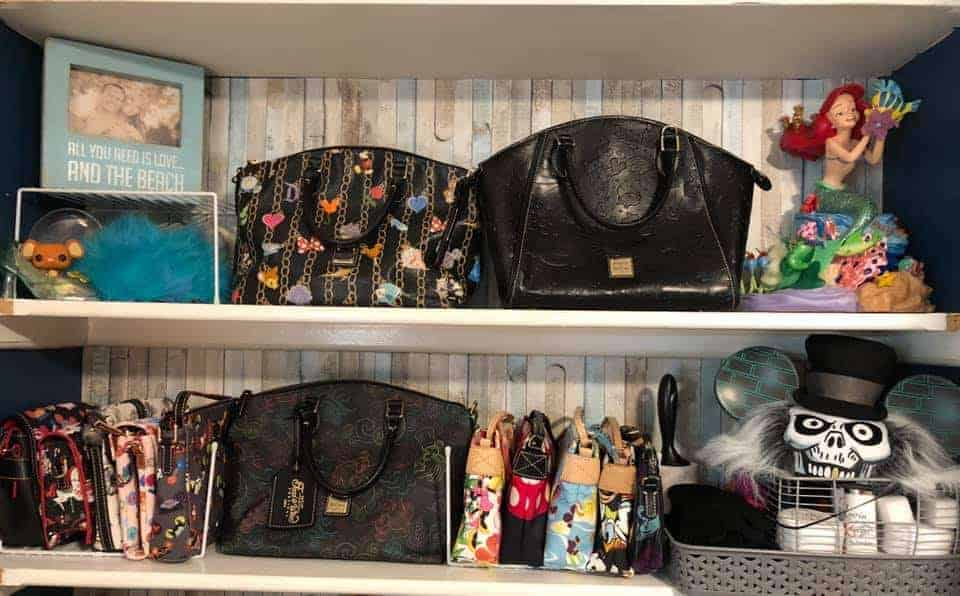 Disney Dooney bags displayed on a shelf