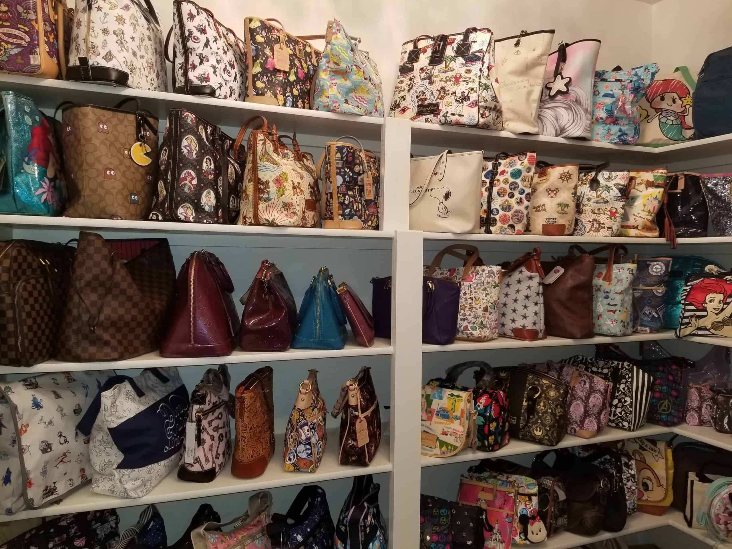 Disney Dooney and Bourke Collection in a dedicated purse closet