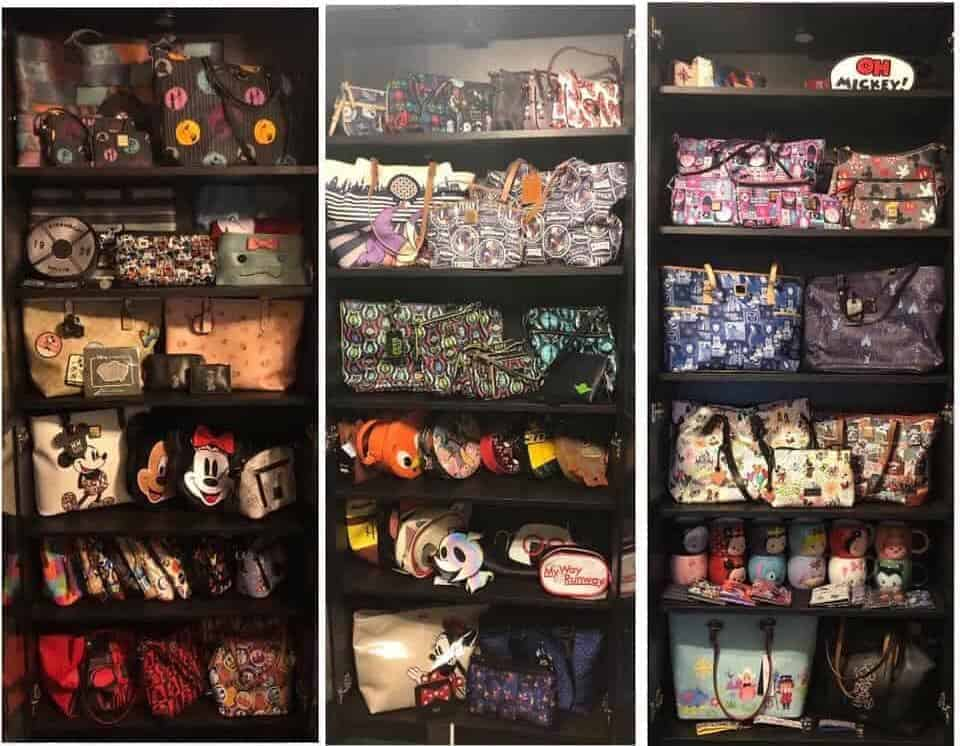 Purse Collection in Ikea Display Cabinets