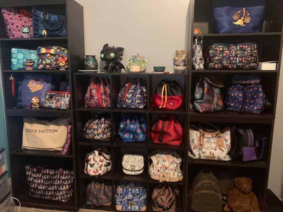 Disney Handbags in a Cube Bookshelf - Photo by Stephanie Noel Amato