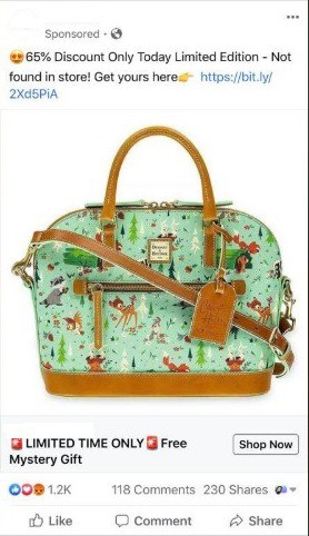 Example of a Facebook scam ad for Bambi Dooney and Bourke Bags
