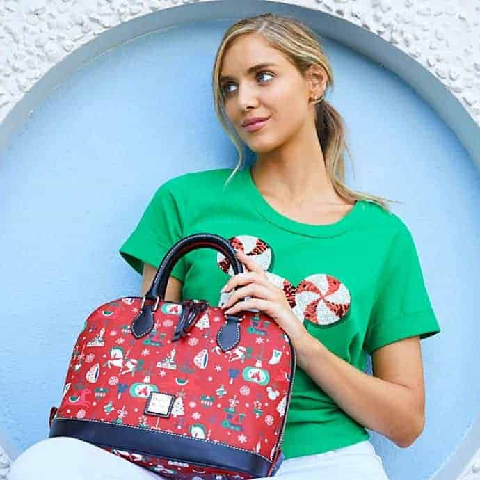 Disney Parks Holiday 2019 Satchel by Dooney & Bourke with model