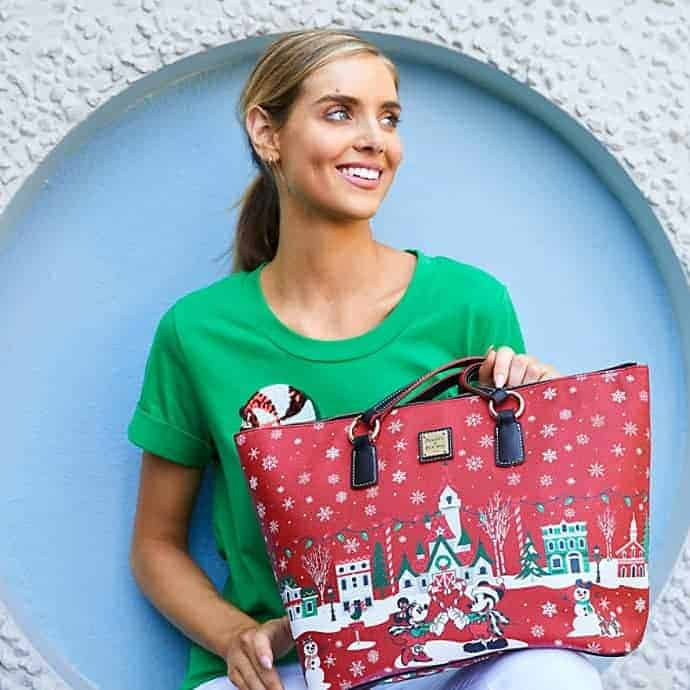 Mickey Mouse and Friends Holiday 2019 Tote by Dooney & Bourke with model