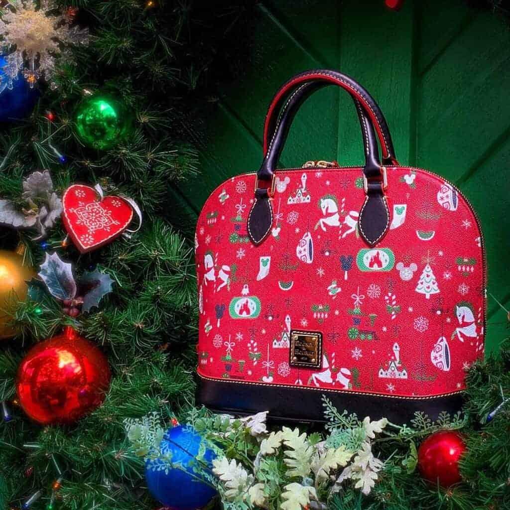 Holiday 2019 Satchel on Christmas tree