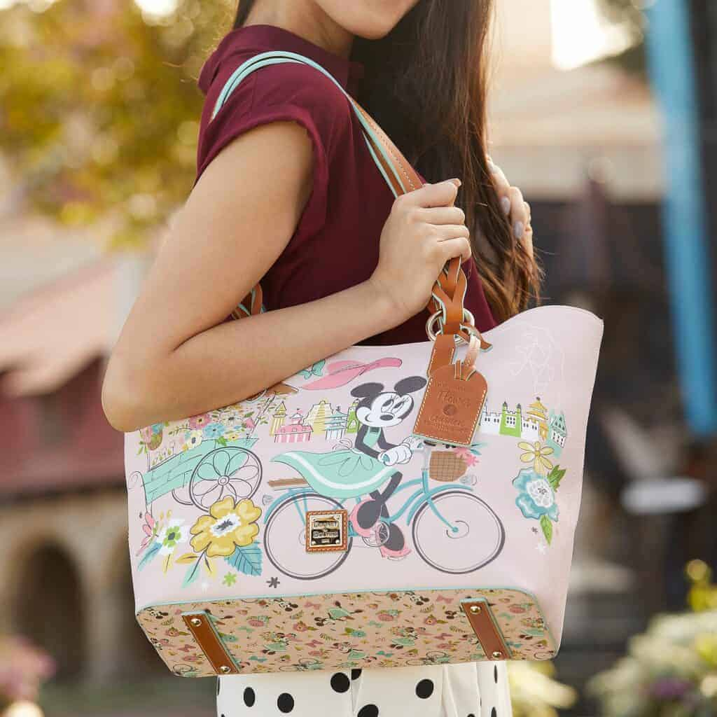 Flower and Garden Festival 2020 Tote with model by Dooney & Bourke