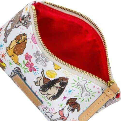 Disney Dogs Sketch Cosmetic Case (interior) by Dooney & Bourke