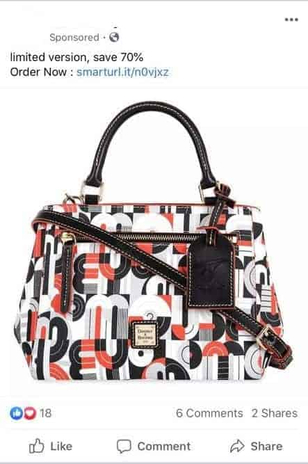 Facebook Scam Ad for Geometric Mickey and Minnie Mouse Satchel
