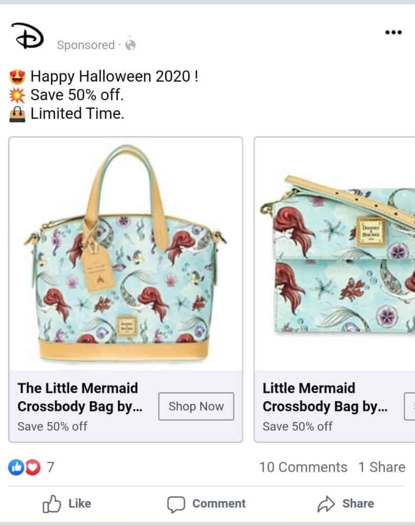 Facebook Scam Ad for The Little Mermaid Collection