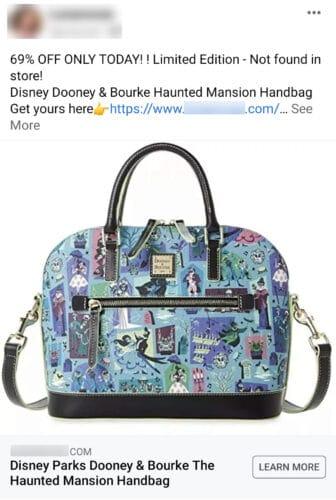 Haunted Mansion Facebook Scam Ad