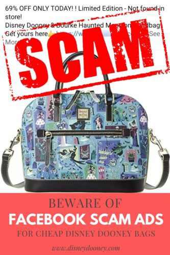 Pin Me - Beware of Facebook Scam Ads for Cheap Disney Dooney & Bourke Bags