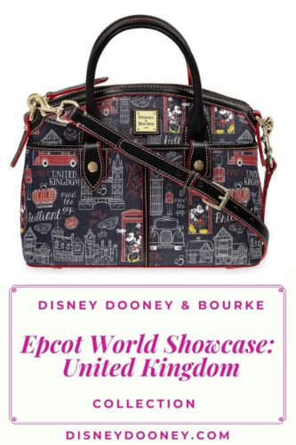 Pin me - Disney Dooney and Bourke Mickey and Minnie Hello Mate Epcot World Showcase United Kingdom Collection