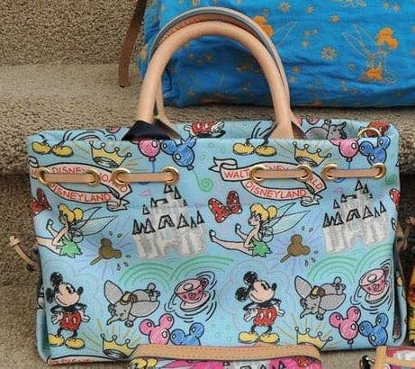 Disney Colored Sketch Blue Tassel Tote OOAK (back)