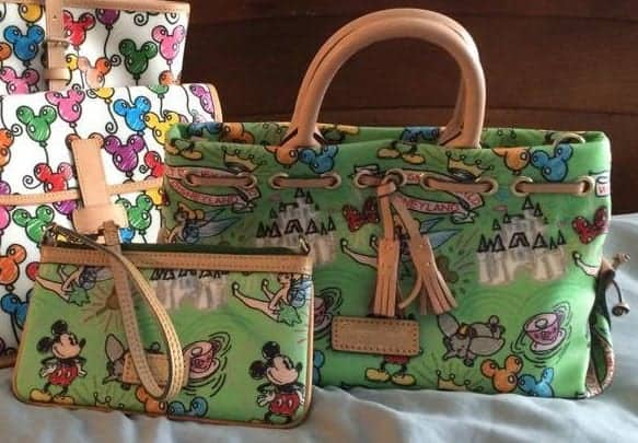 Disney Colored Sketch Green Tassel Tote and Clutch Wristlet OOAKs