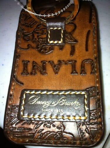 Aulani Brown Leather Sketch Credit Card Holder OOAK (back)