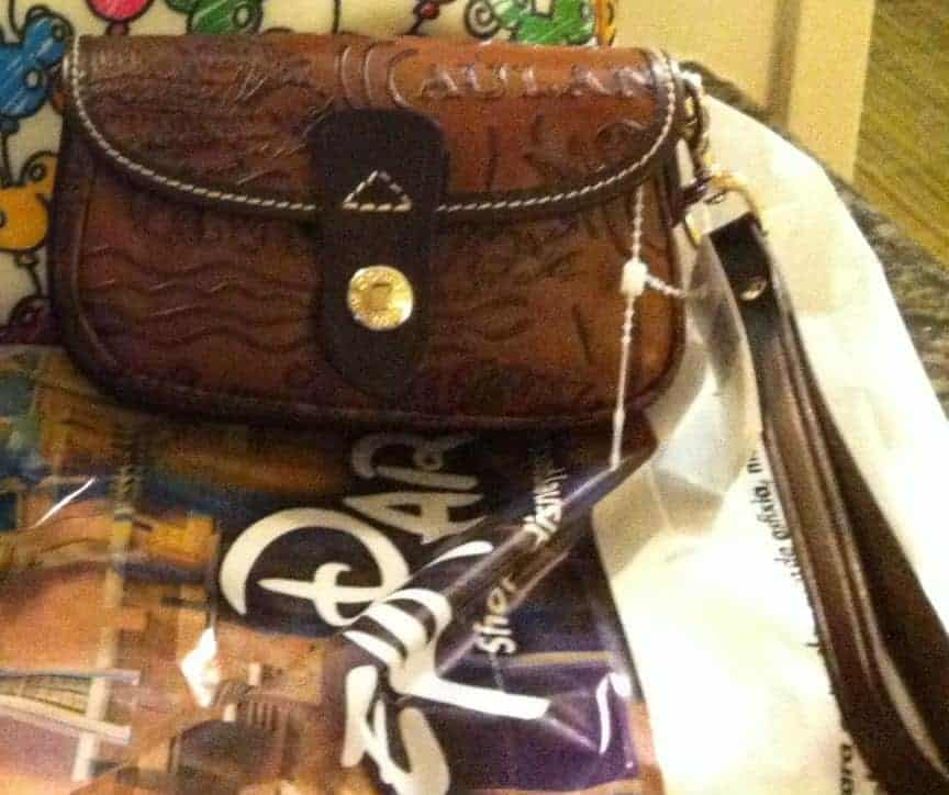 Aulani Brown Leather Sketch Wristlet OOAK