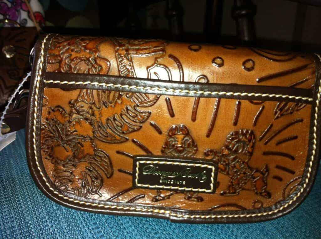 Aulani Brown Leather Sketch Wristlet OOAK (back)
