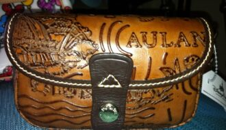 Aulani Brown Leather Sketch Wristlet OOAK (front)