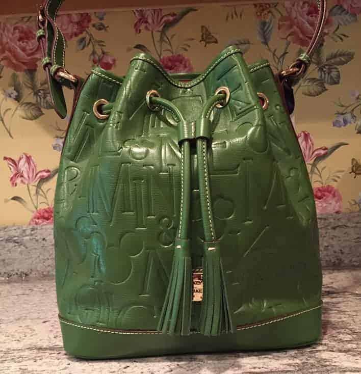 Mickey Names Italian Leather Green Bucket Bag OOAK