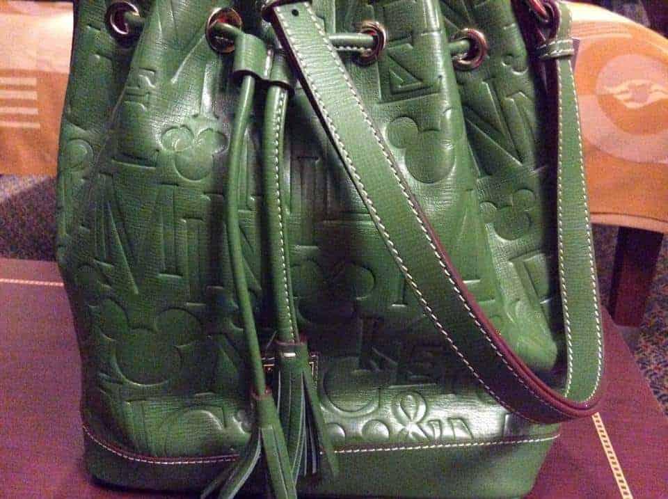 Mickey Names Italian Leather Green Bucket Bag