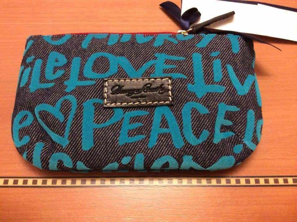 Peace Love Mickey Denim Blue Pouch OOAK