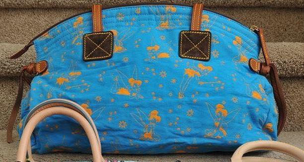 Tinker Bell Canvas Blue Domed Satchel OOAK (back)