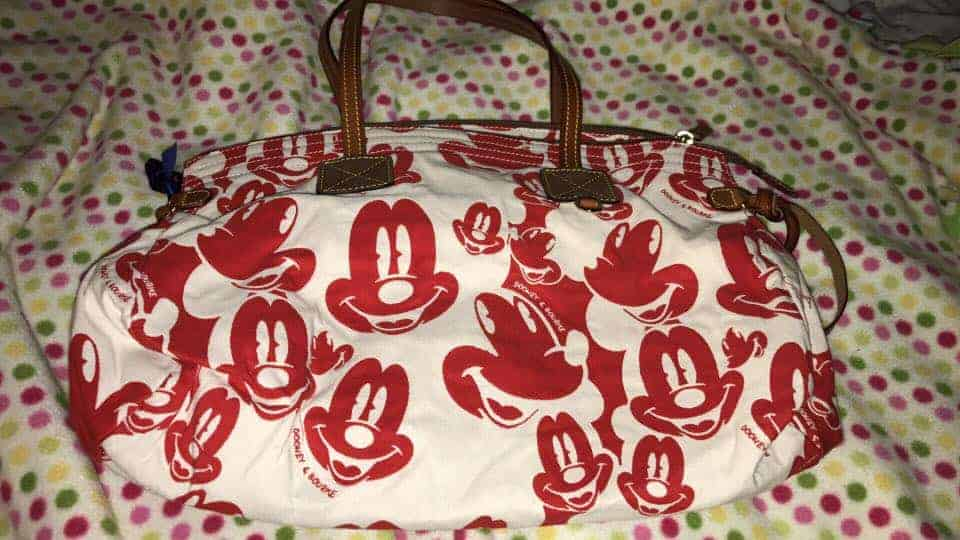 Mickey Faces White and Red Domed Satchel OOAK