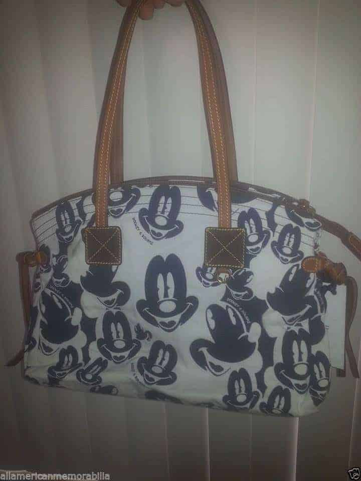 Mickey Faces White and Blue Domed Satchel OOAK
