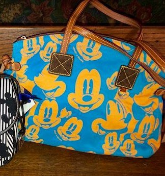 Mickey Faces Blue and Yellow Domed Satchel OOAK