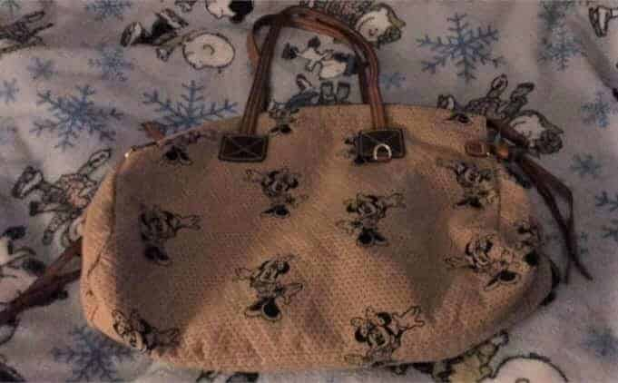 Minne Mouse Beige with Black Minnie Domed Satchel OOAK