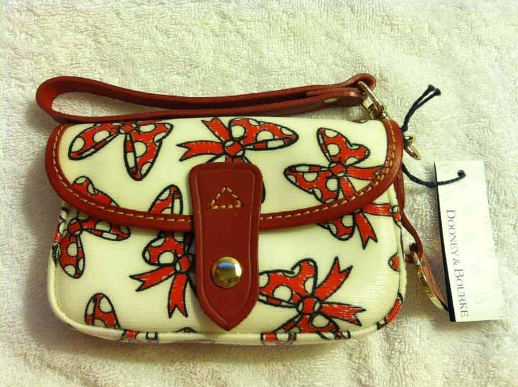 Minnie Bows White Snap Wristlet with Red Trim OOAK