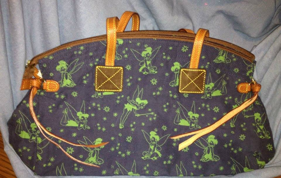 Tinker Bell Blue with Green Tinker Bells Domed Satchel 2 OOAK