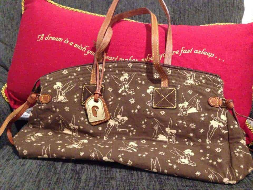 Tinker Bell Brown with White Tinker Bells Domed Satchel OOAK