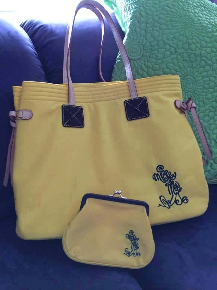 Yellow Nylon Mickey Tote and Coin Purse OOAK