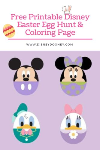 Pin me - Free Printable Disney Easter Egg Hunt and Coloring Page