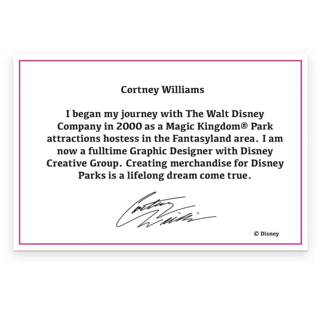 Disney Afternoon Collection Cortney Williams Artist Bio Card