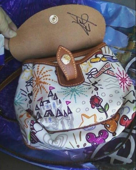 OOAK White Sketch v2 Saddle Bag with Brown Flap