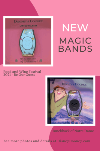 Pin me - Disney Dooney and Bourke Hunchback of Notre Dame + Food & Wine Festival 2021 MagicBands